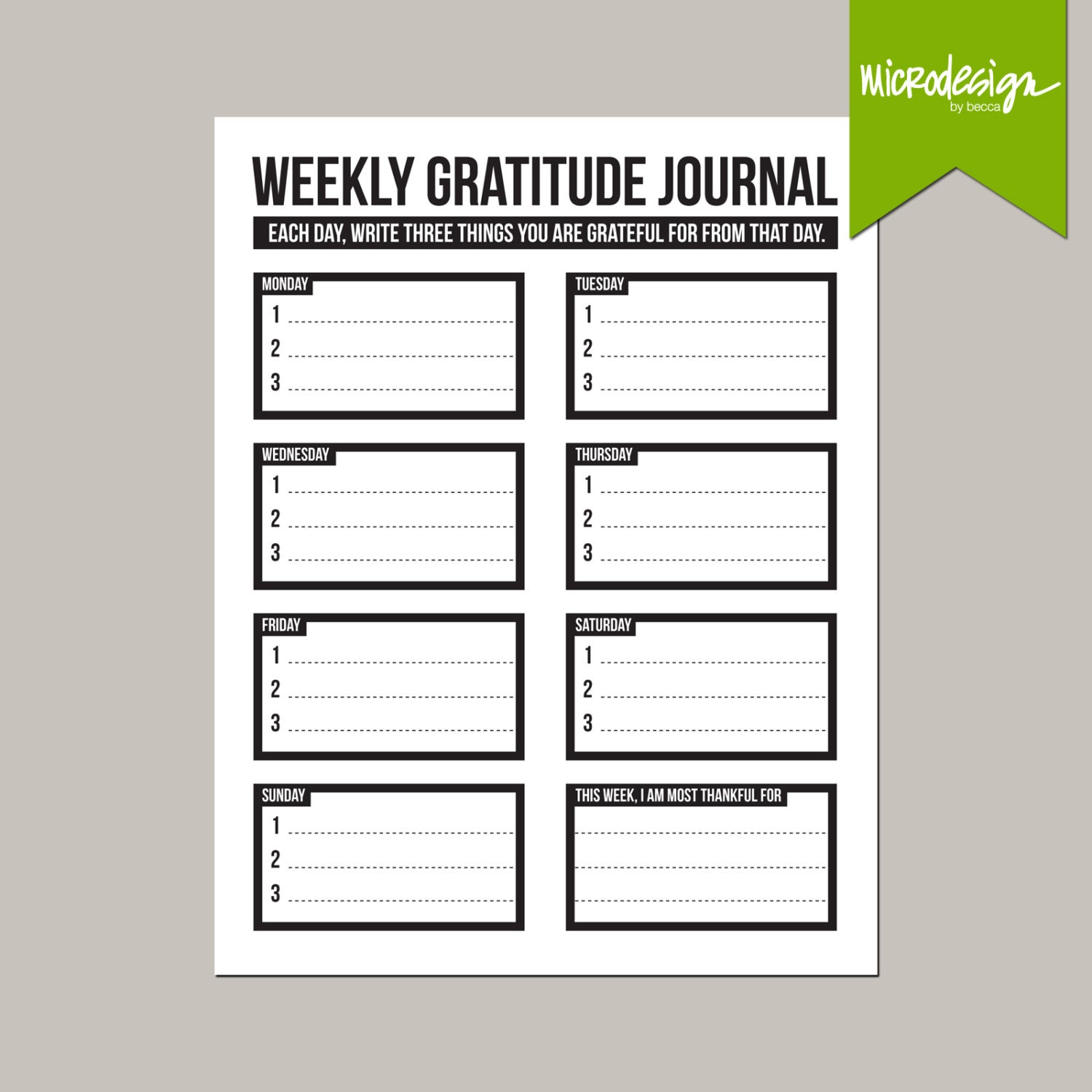 three little things: weekly gratitude journal