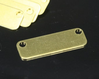 20 pcs Raw Brass 10x30 mm rectangle tag 2 hole thickness 0,85 mm 20 gauge connector charms ,Findings 716R-38
