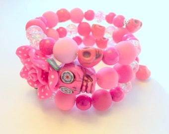 Polkadot Pink Day of the Dead Sugar Skull and Rose Memory Wire Bracelet