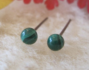 Surgical Steel Earrings Studs / Hypoallergenic Earrings Studs - Malachite Gemstone - Malachite Studs