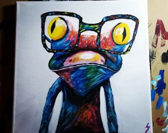 Colorful Gecko Wearing Glasses Acrylic Painting - Print