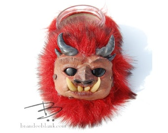 Fuzzy Red Monster Stash Jar - ready to ship  - air tight, water proof - 4 oz.