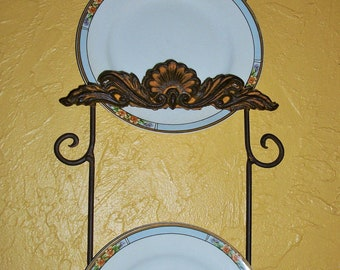 Gorgeous Plate Rack/ Plate Holder/ Wall Plate Hanging/ Collectible Plate Rack/ Rustic Chic/Welded Metal