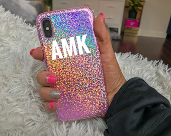 Sparkly Holographic Glitter iPhone Case, iPhone X Case, Holographic iPhone Case