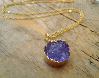 Lavender Druzy Necklace With Gold Filled Chain Druzy Jewelry Drusy Gemstone Boho Holiday Jewelry Fall Fashion Gifts Under 100