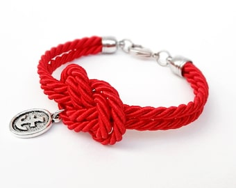 Red Rope Knot Bracelet with Silver Anchor Charm, Nautical Bracelet,  Silk Rope Bracelet, 12 Colors available