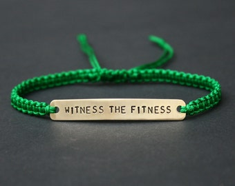Witness The Fitness Sterling Silver or Brass and Macramé Bracelet, Choice Of Colours Available