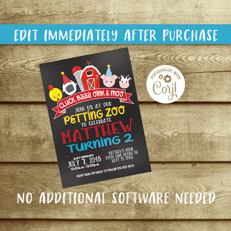 Petting Zoo birthday party invitation, bunting, banner, farm, shabby ...