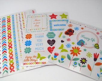 Rub-on stickers - 3 sheets - cardmaking - bullet journal - bujo - flowers - hearts - butterfly - quotes