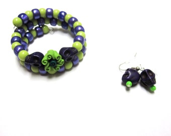 Sugar Skull Jewelry Day Of The Dead Bracelet And Earring Set