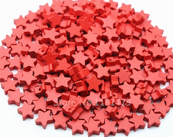 wood star beads 15 mm Red 10 beads