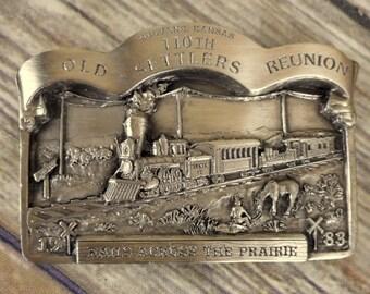 Mulvane KS Belt Buckle Old Settlers Rails Across The Prairie 1983 Bergamot Train