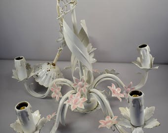 Tole Chandelier, Shabby Chic Light, Flower Chandelier, Pastel Metal Flowers, Cottage Chic Decor, Girl Room,  French Tole Ware, Ceiling Light