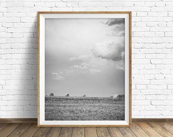 "landscape, sky, large art, large wall art, instant download printable art, black and white, digital download, wall art - ""Harvest Storm"""