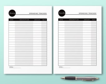 Monthly Spending Tracker, Printable Planner Inserts, Expenses Organizer, Mininal Monthly Spending Planner Kit, Printable Financial Planner