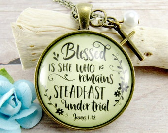 Blessed is She Who Remains Steadfast Under Trial Christian Cross Necklace Vintage Style Encouragement Jewelry Gift Loss Hope Proverbs Woman