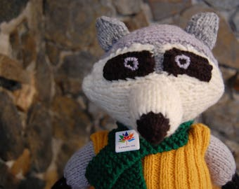 Handknitted raccoon Tommy stuffed toy baby