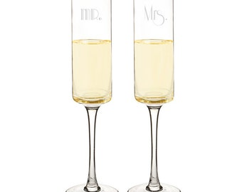 Mr. and Mrs. Gold Rim Wedding Flutes Contemporary Champagne Glasses