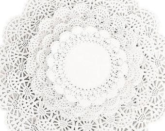 """100 ct. Variety Cambridge Paper Lace Doilies  4"""", 5"""", 6"""", 8"""", and 10"""" White Doily Assortment Pack"""