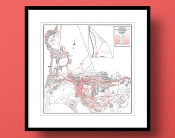 San Diego California Map, Fine Art Print, Premium Canvas Gallery Wrap