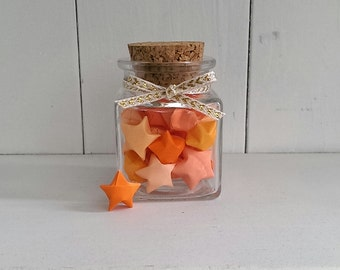 Square Jar of Orange Origami Stars