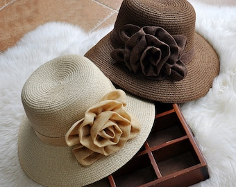 The new summer sun hat beach hat Big flower fisherman straw hat