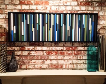 Abstract Painting on Wood - Wood Wall Art - 3D Art - Reclaimed Wood Art - 20x60