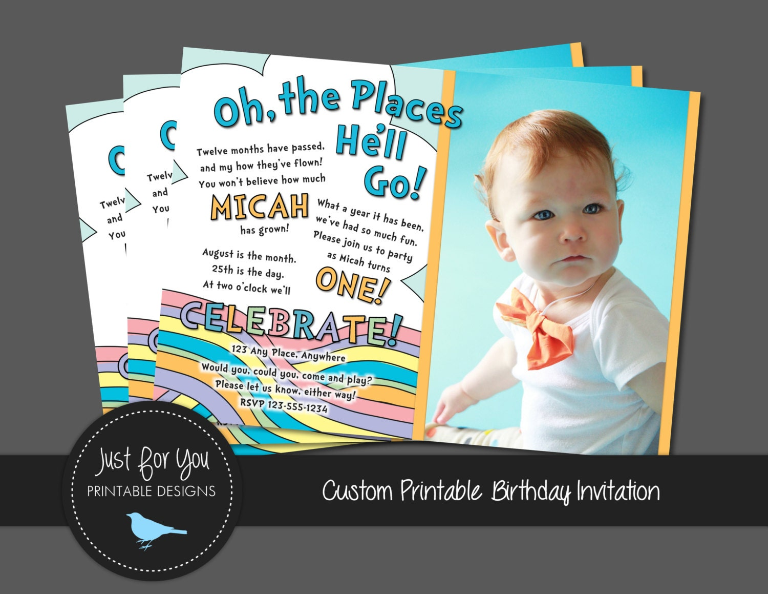First or second birthday invitation pastel rainbow boy girl or first or second birthday invitation pastel rainbow boy girl or twins you print custom printable birthday party invitation filmwisefo Images
