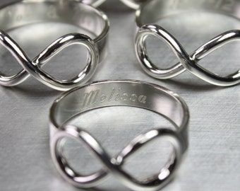 Sterling Silver Infinity Ring Personalized in Shiny Finish