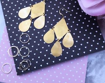 Geometric Diamond Tear Drop Statement Earrings |  Gold & Brass