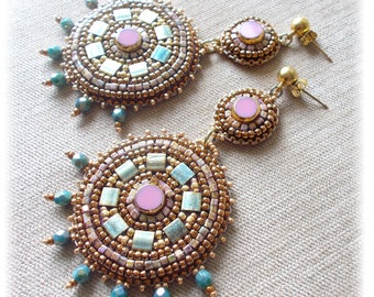 Embroidered earrings, antique style, Greek goddess