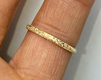 SALE 14k/10k Gold Stardust Ring - Midi Ring Gold - Gold Pinky Ring -  Minimalist Gold Ring - Dainty Gold Ring - Thumb Ring - Sparkly Rings