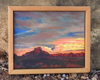"Original Oil Painting, ""Last Light, Stormy Night"