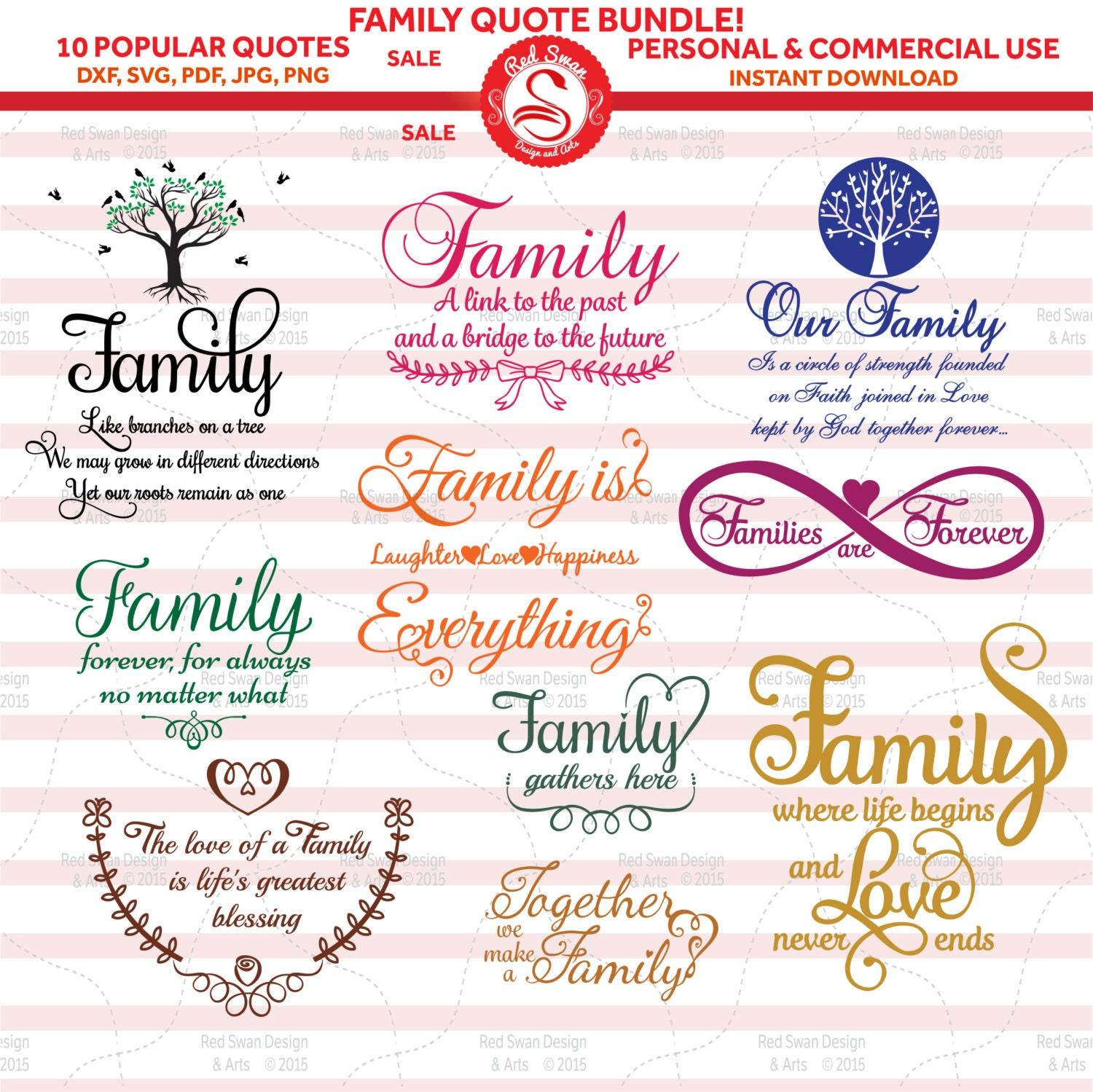 10 Family Quotes Cutting File SVG DXF PDF Jpg Png