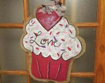 Love Cupcake Burlap Door Hanger