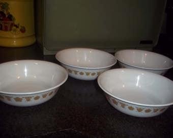 Vintage Corelle Butterfly Gold cereal or salad bowls - set of 6