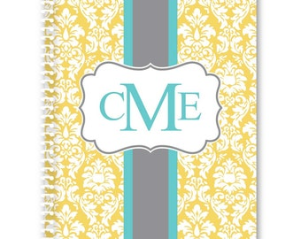 Personalized Spiral Notebook - Damask
