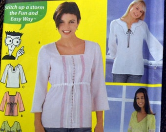 Sewing Pattern Simplicity 5553  Misses' Pullover Peasant Top  Bust 30-34 inches Uncut  Complete