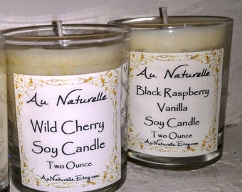 Fragrant Oil Scented Soy Candle  - Two Ounce - Highly Fragrant - Seasonal Scents  -  Iris And Fern  - Wild Cherry