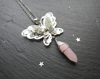 Rose Quartz Necklace with a Filigree Butterfly, Rose quartz Necklace, Butterfly Necklace, Gemstone necklace, Pink Stone Necklace, Quartz