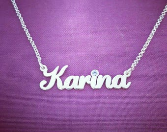 Silver Name Necklace Order Any Name! Personalized Necklace With a Birthstone Women Jewelry Name Necklace