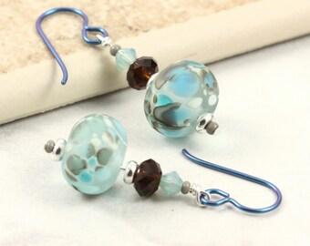 Lampwork Earrings in Mocha, Blue Opal and Aquamarine Crystal Aqua Niobium Ear Wires Hypoallergenic Earrings Dangle Earrings Summer Jewelry