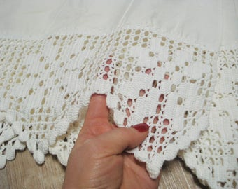 Cotton curtain embroidered with crochet trim vintage romantic