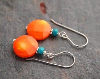 Orange Coral Earrings, Turquoise and Coral, Citrine and Coral, Pumpkin Coral Earrings
