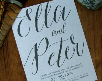 Large Calligraphy Wedding Invitation, Modern Calligraphy, Wedding Suite