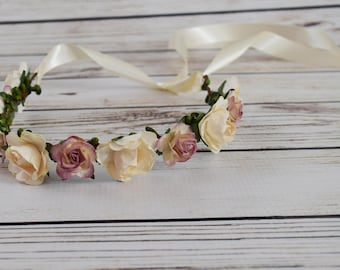 Handcrafted Dusty Rose and Champagne Cream Flower Crown - Flower Girl Crown - Newborn Flower Crown - Adult Flower Crown - Bridal Hair Wreath