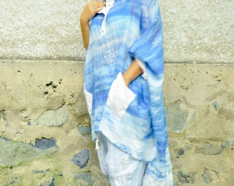 Blue cotton silk linen shirt/Blue linen silk clothes/Woman long shirt/Casual loose tunic/Amazing ocean silk tunic/Woman maxi tunic/T 1498