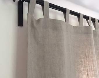 Linen window curtain panel custom size, linen drapes, natural linen panels, tabs on the top