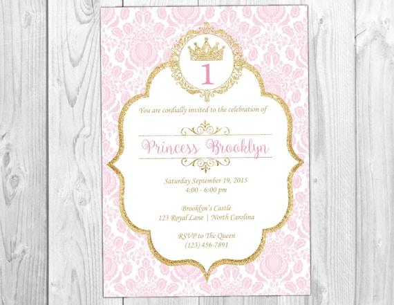 Princess Birthday Invitation, Princess Birthday Party Invite, Pink and Gold, Glitter, Royal Party