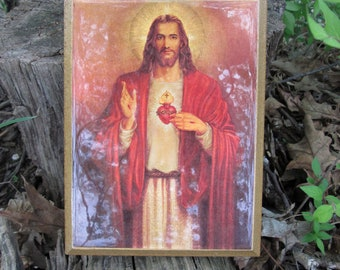 Sacred Heart of Jesus Wood Wall Plaque Religious Art